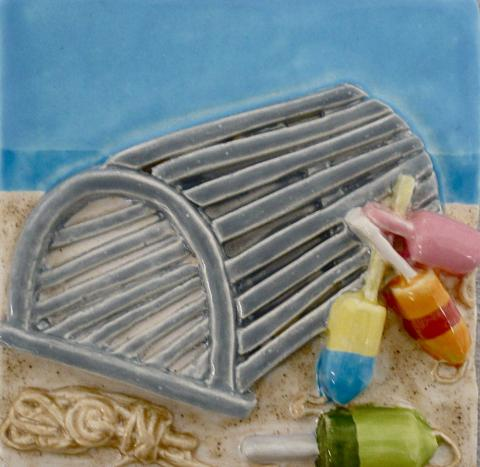 Lobster Trap and buoys | Nantucket Tile