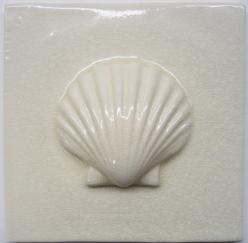 Scallop tile, hand made tile, fireplace tile, Nantucket scallop tile, Nantucket scallop, large scallop decorative tile