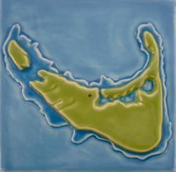 Nantucket map of the island tile Nantucket Island tile, hand made Nantucket island tile