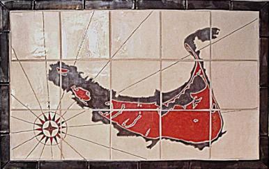 Nantucket Map Tile Blacksplash in Black & Red