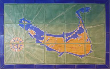 Nantucket Map Tile Blacksplash in Blue & Green