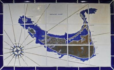 Nantucket Map Tile Blacksplash in Blue