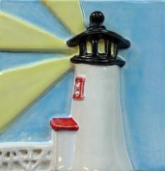 Nantucket Lighthouse tile, Brant Point tile, Brant Point lighthouse tile, hand made lighthouse tile