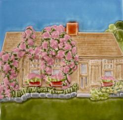 Nantucket rose covered cottage tile