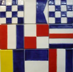 Ceramic Signal Flags, classic signal flag tiles, hand made ceramic signal flag tiles