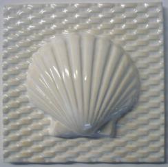 scallop tile, hand made tile, scallop tile on basket weave background, scallop ceramic tile, Nantucket scallop ceramic tile on woven background