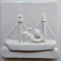Nantucket lightship tile, Nantucket hand made lightship tile, Nantucket lightship white tile