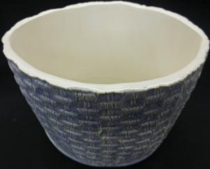 basket weave ceramic, basket weave ceramic bowl, made on Nantucket, hand made ceramic bowl, Nantucket ceramics, basket weave blue