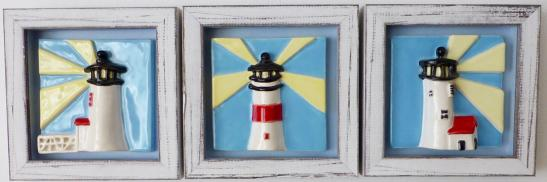 Framed Nantucket lighthouse tile, Nantucket lighthouse tile, decorative hand made Nantucket lighthouse tile