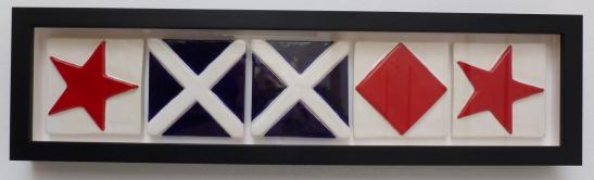 signal flag, signal flag tile, ceramic signal flag tile, custom ceramic signal flag tile