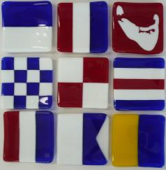 glass signal flags, signal flag tiles, nantucket signal flag tiles, hand made signal flag giles