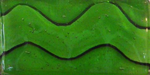 "Green 2"" x 4"" Glass Wave Tile"