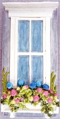 bas-relief window box tile with hydrangeas, Nantucket window box ceramic panel with hydrangeas, Nantucket window box with hydrangeas, Nantucket window box with hydrangeas ceramic tile