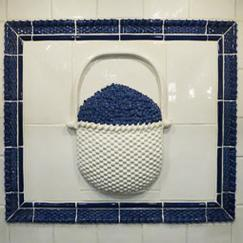 Nantucket lightship basket blueberry ceramic panel, Nantucket lightship with blueberries, Nantucket TileMakers lightship basket ,