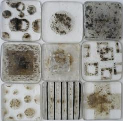 glass tile with metal inserts, abstract glass, abstract metallica glass tiles, metal inclusions,