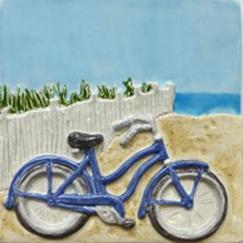 hand made tile, Nantucket scene tile, island icon, bicycle on the beach, Nantucket beach with bicycle