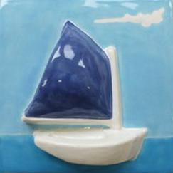 Nantucket catboat tile, ceramic catboat, ceramic catboat tile, hand made tile rainbow fleet tile