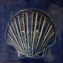 scallop tile, hand made tile, scallop shell tile, ceramic scallop tile, Nantucket scallop, Nantucket scallop tile.