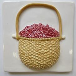cranberry lightship basket tile, Nantucket lightship basket with cranberries, hand made lightship basket tile,