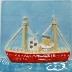 Nantucket Lightship tile, hand made lightship tile, hand made ceramic Lightship tile, hand made ceramic Nantucket Lightship tile