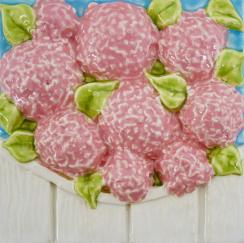 Nantucket hydrangea, Nantucket pink hydrangea, Nantucket hydrangea tile, hand made tile, Nantucket pink hydrangea hand made tile