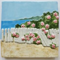 rosa rugosa tile, Nantucket rosa rugosa tile, hand made rosa rugosa tile, Nantucket ceramic rosa rugosa tile