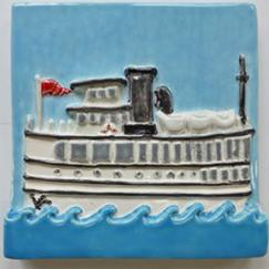 Nantucket steamship tile, Nantucket ferry tile, hand made Nantucket ferry tile, hand made Nantucket steamship ferry tile