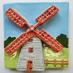 Nantucket windmill tile, Nantucket Old mill tile, hand made ceramic tile, hand made ceramic Nantucket mill tile