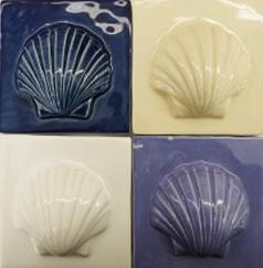 Scallop tile, ceramic scallop tile, Nantucket scallop ceramic tile, Nantucket TileMakers ceramic scallop tile