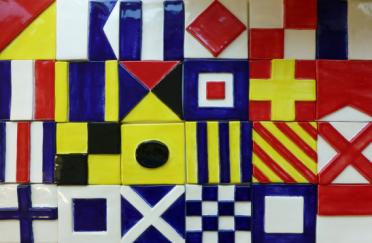 Ceramic signal flag, signal flag tile, hand made ceramic signal flag tile, Nantucket signal flag tile