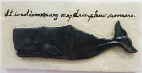 hand made tile, ceramic bas relief whale tile, Nantucket right whale, Nantucket right whale tile, whale tile with text