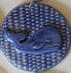 Blue Whale on Basket Weave Ornament
