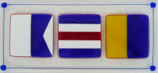 ACK Butler Tray in traditional primary colors. ACK, Nantucket, Nantucket glass, handmade glass Nantucket, signal flags, glass signal flags, Nantucket signal flags