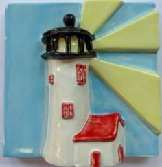 Great Point lighthouse tile, Nantucket Great Point lighthouse ceramic tile, Nantucket Great Point Lighthouse hand made ceramic tile