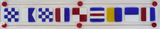 Nantucket Long Tray in Primary Colors, Nantucket signal flags in glass, signal flags spelling Nantucket, glass signal flags