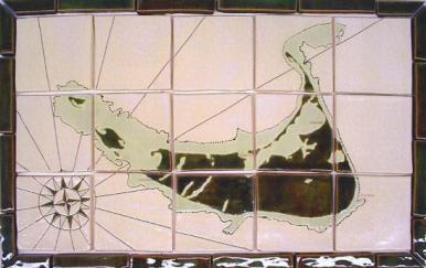 Nantucket Map Tile Blacksplash in Green