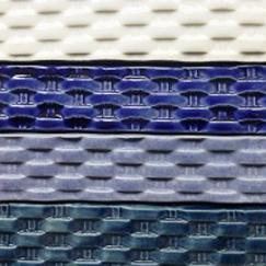 basket weave, liner, trim piece, woven ceramic trim tile, ceramic trim tile, basket weave trim tile, hand made