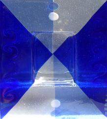 Blue Wave Dot Ikebana, glass ikebana, blue glass, made on Nantucket