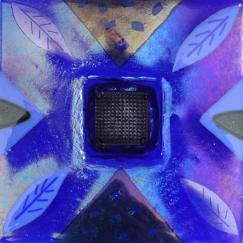 Irid Blue Ikebana, iridescent glass, hand made on Nantucket, Nantucket glass, blue glass, glass ikebana