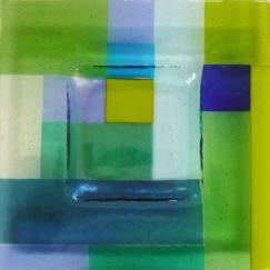 Blue / Green Irid Checkerboard Plate, Nantucket glass, mondrian glass, hand made Nantucket