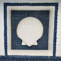 Jumbo Scallop bas-relief ceramic, scallop ceramic, ceramic scallop, Nantucket scallop ceramic.