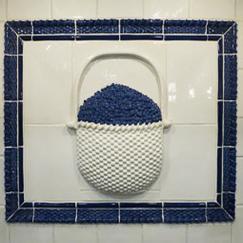 Nantucket lightship basket blueberry ceramic panel, Nantucket lightship with blueberries, Nantucket TileMakers lightship basket ,