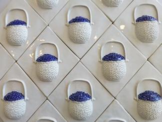 Nantucket lightship basket with blueberries ceramic tile, hand made Nantucket TileMakers lightship basket with blueberries, hand made tile