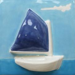 Nantucket catboat tile, ceramic catboat, ceramic catboat tile, hand made tile rainbow fleet tile