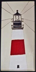 Nantucket Sankaty Head lighthouse tile, Nantucket TileMakers Sankaty Head ceramic panel, Nantucket Sankaty head wax-resist tile