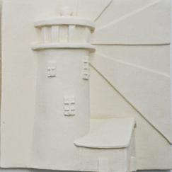Nantucket Great Point Lighthouse tile plaque, hand made fireplace tile, Great Point tile, Nantucket Great Point tile
