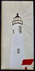 Great Point lighthouse ceramic panel, Nantucket Great Point lighthouse, Nantucket Great Point hand made tile