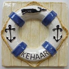 life saving ring tile, Nantucket lifesaver ring tile, hand made tile, lifesaving ring with anchors, lifesaving anchor ring custom, personalized Nantucket lifesaving ring tile