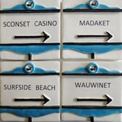Nantucket street sign tile custom, hand made Nantucket street sign tile,