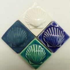 2x2 scallop insert ceramic tile, Nantucket Tilemaker scallop 2x2 ceramic tile, hand made ceramic tile Nantucket, scallop ceramic tile